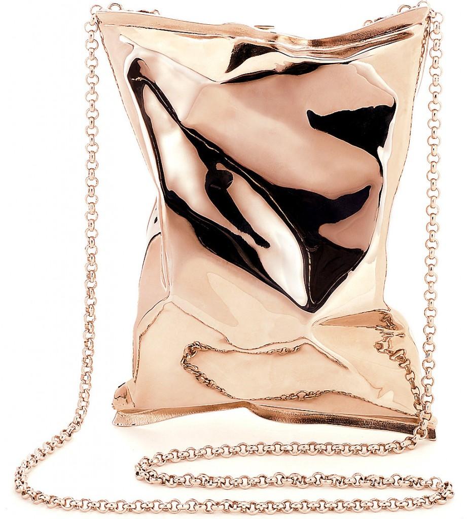 Anya Hindmarch Rose Gold Crisp Packet Clutch - Statement Bag