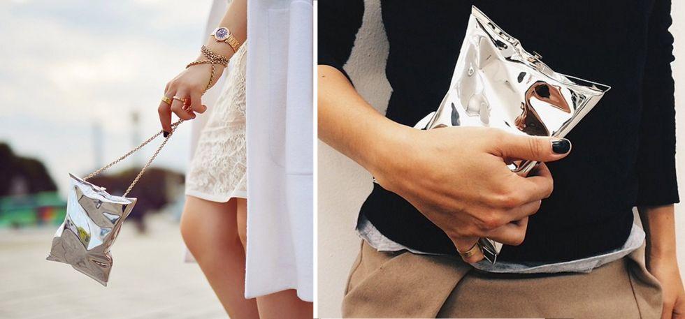 Anya Hindmarch Silver Crisp Packet Clutch - Statement Bag