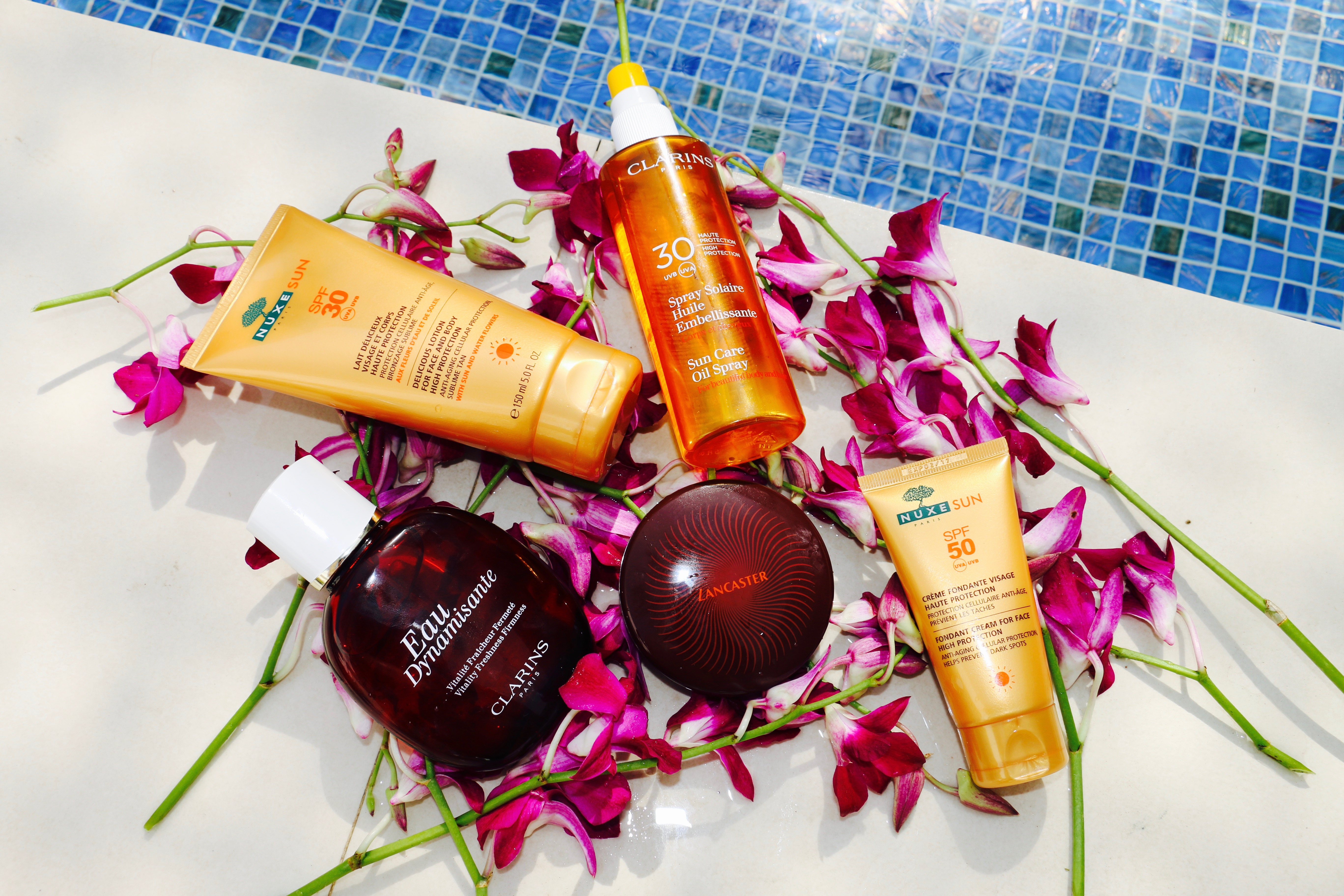 Summer Beach Beauty Must Haves - Suncare & Fragrance - Clarins, Nuxe & Lancaster