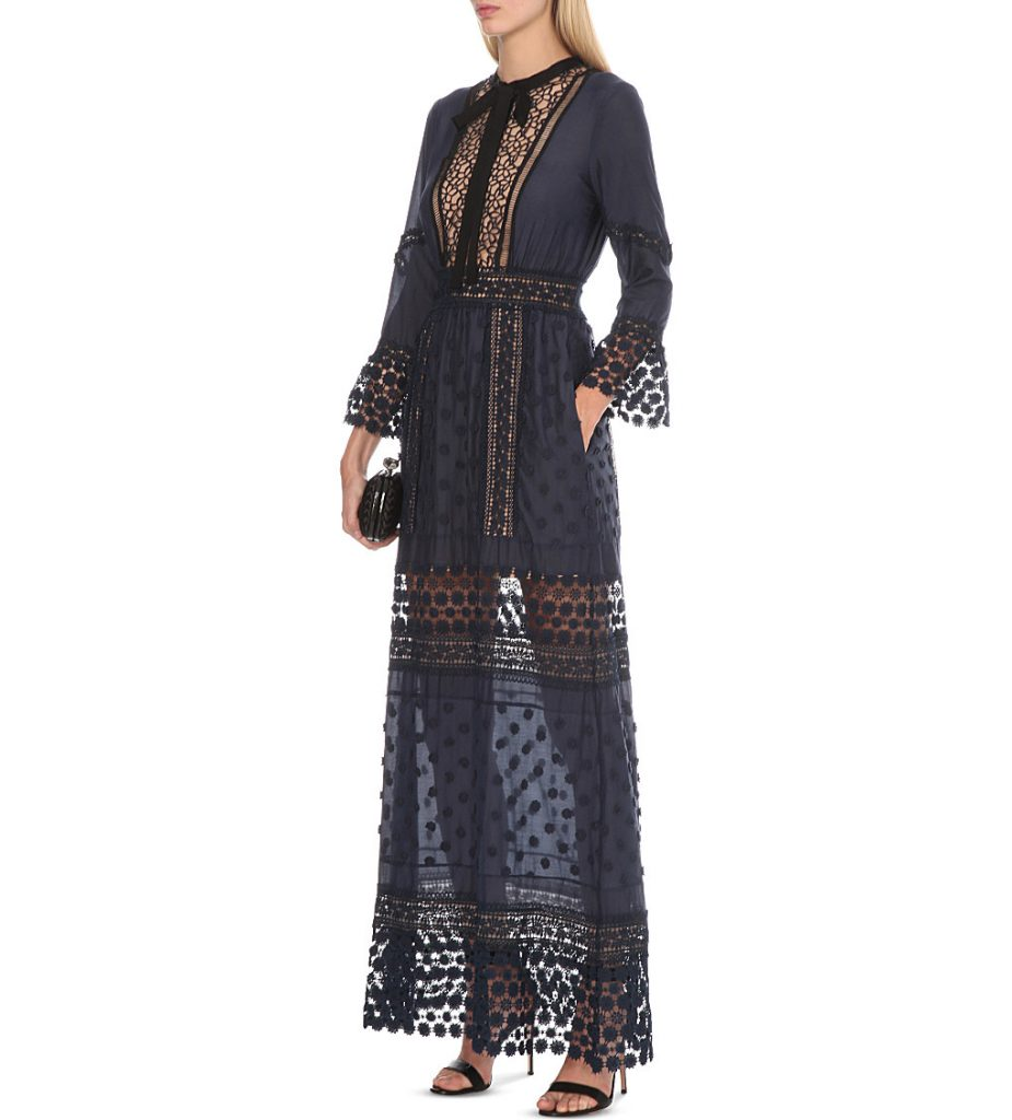 SELF-PORTRAIT Spring lace long-sleeved pleated dress