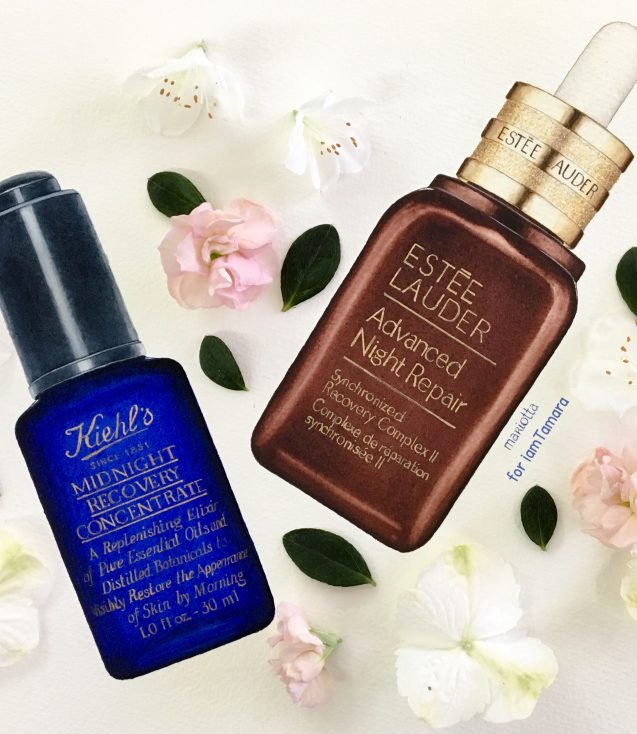Super serums - Kiehls Midnight Recovery Concentrate & Estee Lauder Advanced Night Repair - Drawing by Mariotta
